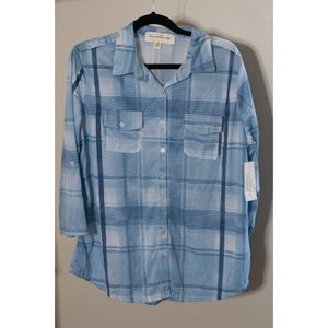 French Laundry Blue Plaid Top
